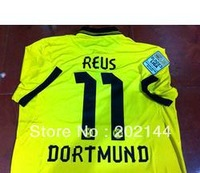 Hot sell 12/13 best thai quality Dortmund HOME yellow 11# REUS soccer football jersey, BUNDES LIGA patch, size:S/M/L/XL