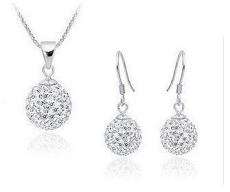 Shamballa Jewelry Set CZ Disco Pave Crystal Ball Pendant Necklace+Stud Earrings+925 Silver Chains button earrings for women(China (Mainland))