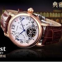 New skeleton watch Tourbillon Men's Watch Automatic mechanical watches genuine belt butterfly buckle men's watches