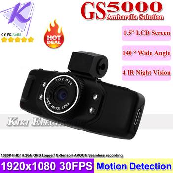 GS5000 GPS Car DVR Recorder Build in GPS G-sensor 1080P Full HD Car Dashboard Camcorder H.264 Video Codec Blue Menu SG Free