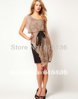 Free shipping! Designer Asymmetric Statement One Shoulder Beaded Nude Beige Dress Silk Overlay UK8-UK16