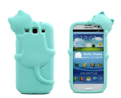Lovely Hello Deere Diffie Cat Series Cover Case For Samsung Galaxy SIII S3 i9300 With Retail Packing Dropshipping Free shipping(China (Mainland))
