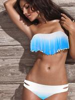 Sexy Women Padded  Fringe Boho Swimwear Bandeau Bikini Set Mix Color Bathing suit