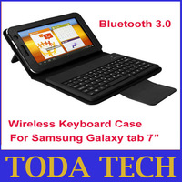 "New PU + Silicone Case Keyboard with Bluetooth for Samsung Galaxy Tab 7"" P3100 Promotion Price Free Shipping"