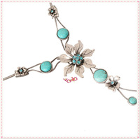 Free shipping From US ! New coming 2013 Fashion Turquoise Flower Pendant Rhinestone Necklace for Woman, wedding 16003118