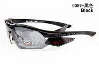 Free Shipping 2013 New Sports Eyewear UV400 Bicycle Cycling Sunglasses Interchangeable Goggle Polarized With Hard Box Black 0089