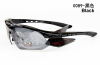 Free Shipping 2013 New Sports Eyewear UV400 Bicycle Cycling Sunglasses Interchangeable Goggle Polarized With Hard Box Black 0089