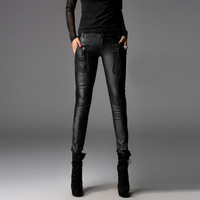 Punk rave 2013 spring zipper punk leather pants female long casual pants pencil pants