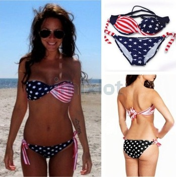 New Swimsuit Swimwear Women Sexy Bikini USA Flag Twisted Bandeau Swim Suit Tube Swim Wear Fashion Bikinis For Women