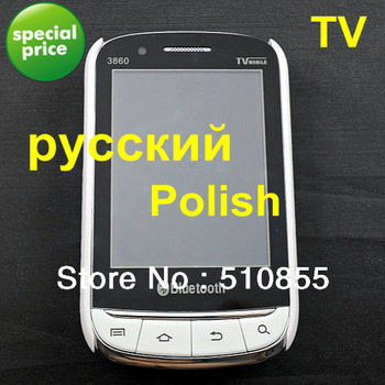 Free shipping unlocked quad band cheap touch screen 2sim cards mobile phone 3860 TV Russian Polish Free Mesh case