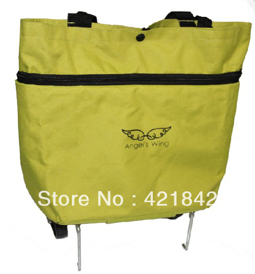Free Shipping! 2013 Creative Practical Folding Oxford Fabric Wheel Shopping Bag Cart Carrying Tote(China (Mainland))