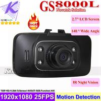 "Carcam HD Car DVR Novatek GS8000L Car Camera Black Box 2.7""+140 degree Wide Ange +G-sensor Motion Detection Free Shipping"