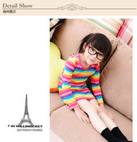 Rainbow girl dress Long sleeves girl dress 2013 new design Lovely girl needs Popular style