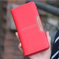 2014 wallet female medium-long cowhide zipper student wallet clutch card holder wallet coin purse free shipping