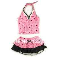 Powder black polka dot child swimwear female child lacing split swimsuit hot springs