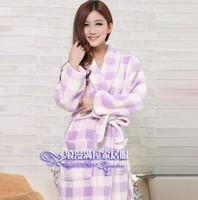 Free shopping autumn and winter elegant women's robe bathrobes plaid dot plus size coral fleece sleepwear
