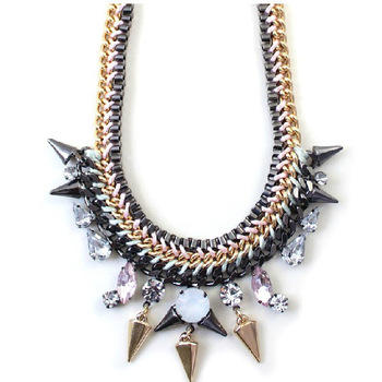 2013 New Punk Fashion Quality Rivet Pendant Designer Statement Necklace Knitted Short Necklace Jewelry For Women