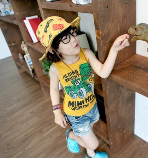 2013 Newest Summer L XL XXL 30PCS Kids Boys GIRLS Cool Vest T Shirt With Back Screening AGE FROM 1-4(China (Mainland))