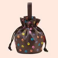 Free shipping fashion high quality brown fluorescent Skulls ruffles drawstring folded lovely Mini ladies handbags storage pack