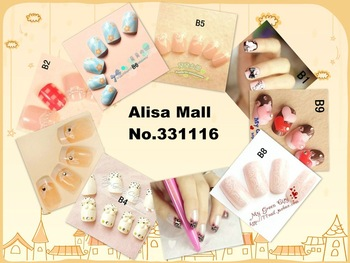 Free shipping 24pcs 3D Design Acrylic Nail Art False Full Tips,CRYSTAL Nail ART designs False nails patch  random delivery