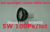 Wholesale freeshipping LED spotlight 12leds 3020 GU10 Base 5W AC230V High Quality 100PCS/lot Hot Sale