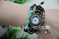 500PCS/LOT,New Arrival Genuine Cow Leather Watches With Turquoise,Retro Hammer Dress Watch For Women/TNT Freeshipping