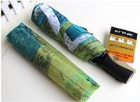 San xiang  Paris Oil Painting Automatic Umbrella Big Folding Exquisite Umbrella Anti-uv Sun/Rain Durable Automatic Umbrella