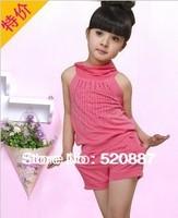 wholesale!2014 children's clothing girls of summer paragraph Korean version of casual Older children Budou children pants suit