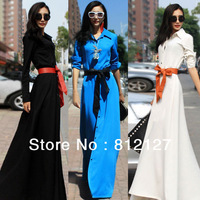 New Fashion Womens Vintage Long Stylish Single-breasted Cotton 3 Colours Dress