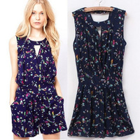 2014 Summer Cotton Print Backless Jumpsuit For Women Sweety STYLE Rompers Overall GIRL Summer Shorts Wear Free Shipping