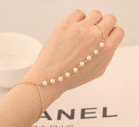 Free Shipping,Sweet  Created  Pearls  Chain  Bracelet With Finger Ring, 12pcs/lot