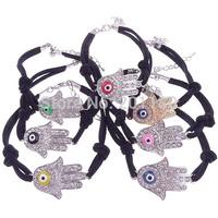 Free Shipping 10pcs/lot Fashion Jewelry Shiny Rhinestone Hand With Evil Eye Black Leather Vintage Women's Bangles Bracelets Gift