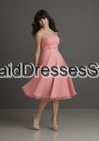 Free Shipping Promotion New Design Cheap Wholesale A-line Strapless Chiffon Light Pink Tea-length Bridesmaid Dress(BM0100326)