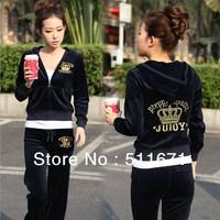 Fashion Ornate Monogram Velour Velvet Yoga Soprting Jacket  Hoodie Pants Tracksuit SET NWT001