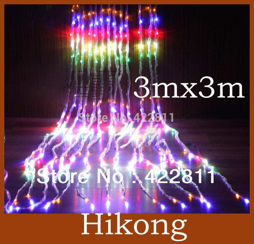 3m * 3m 336 Led Waterfall Curtain Light Christmas Wedding Party Water Flow Holiday Night Backgroud String Light(China (Mainland))