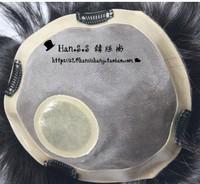 Full hand-woven general wig piece  1b# natura black toupee  20x16CM