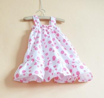 2013 New Girl Chiffon Polka Dot Sundress/Wholesale 5 pieces/Lot Baby Girl Summer Dress/Kids Summer Wear