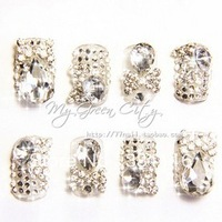 Free shipping  3D Design Acrylic Nail Art False Full Tips,CRYSTAL Nail ART+  Bridal Rhinestone   designs False nails patch
