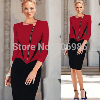2015 Womens Elegant Front Zipper 3/4 Sleeve Colorblock Tunic Business Casual Wear To Work Party Pencil Sheath Dress