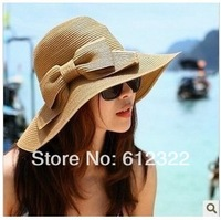Free shipping Wholesale Fashion Women Wide Large Brim Floppy Summer Beach Sun Hats Straw Hat Cap With Big Bow