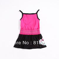 Free shipping summer kids girls hello kitty dress vest elastic waist cotton high quality rose red one piece dress last 10 pcs