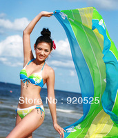 2014 summer Fashion Sexy Chiffon Floral Swimsuit Pareo Beach Cover up Sheer Thin Sarong Swimwear Scarf Wrap Dress Green