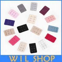Wholesale 100pcs/lot fabric  2 Hooks  bra extenders buckle bra fittings Bra Strap Extender hook clip multi color available