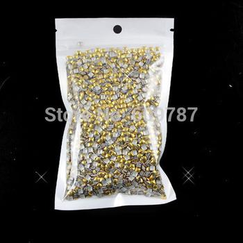 Free Shipping 2000pcs/lot 3mm Gold Square 3d metal nail studs nail decorations