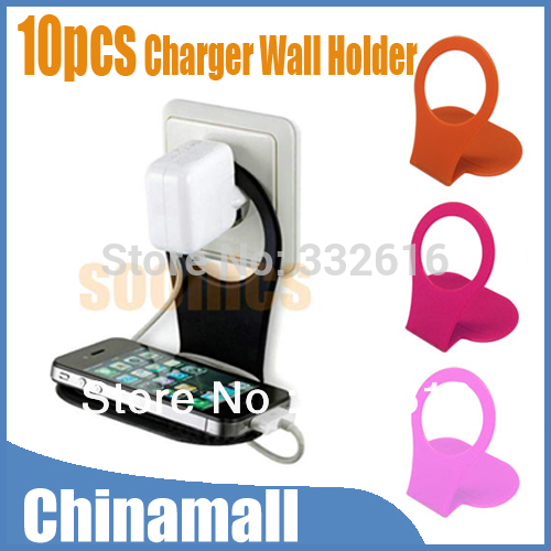 Cell Phone Holder Suspender Hang AC Wall Home Charger charging rack Cable Organizer For iPhone 4G/S 5 Free Shipping Wholesale(China (Mainland))
