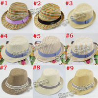 Sample of Mixed 9 New hot designs Baby Fedora Hat Children Summer Sun Cap Kids Fedora Hat Boys Girls Straw Jazz Cap FH009