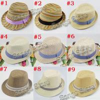 Sample of Mixed 9 New hot designs Baby Fedora Hat Children Summer Sun Cap Kids Fedora Hat Boys Girls Straw Jazz Cap FH009