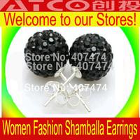 Wholesale Shambala Earrings Free shipping 20pcs(10 Pairs) Mix Color 10mm Shamballa Disco Pave Crystal Ball Earrings
