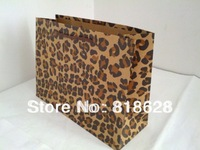 10pcs/lot Medium Size ECO Shopping Gift Paper Packing Bag For Women Leopard Cowhide Print 28x20x10cm