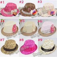 Sample of Mixed 9 hot designs Girls Floral Fedora Hat Children Flower Sun Cap Baby Straw Top Hat Dicers Sunbonnet Fedoras